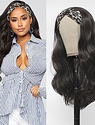cheap -Long Wavy Headband Wig For Black Women Body Wave Synthetic Wig Natural Thick Looking Easy To Wear Heat Resistant Dark Brown Color 22 Inch(No Colored Headband)