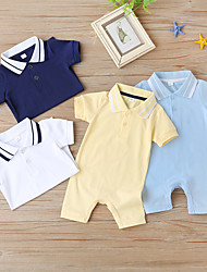 cheap -Baby Boys' Basic Solid Colored Short Sleeves Romper Yellow Dusty Blue White
