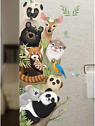 cheap -Wall stickers cartoon animals kindergarten classroom layout door stickers children's room wall stickers self-adhesive wall decoration
