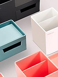 cheap -Plastic Multi Function Pot Table Storage Box Organizer  Student Pen Bucket Desk Organizer Desktop Storage box Divided Storage Box Plant Pot Box17.2*8.8*9cm assorted color 1 pcs