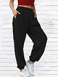 cheap -Women's Plus Size Jogger Chinos Pocket Solid Color Sporty Casual Casual Daily Natural Full Length Fall Summer Blushing Pink Gray White L XL XXL 3XL / Cotton