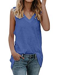 cheap -Women's Tank Top Vest Plain V Neck Basic Streetwear Tops Cotton Blue Purple Green