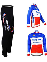 cheap -Customized Cycling Clothing Women's Men's Long Sleeve Cycling Jersey with Tights France National Flag Bike Clothing Suit Waterproof Zipper Breathable Reflective Strips Back Pocket Winter Polyester