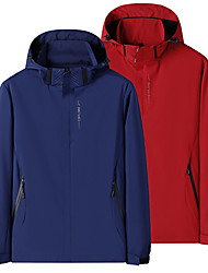 cheap -Men's Hiking Jacket Hoodie Jacket Hiking Windbreaker Outdoor Thermal Warm Windproof Quick Dry Lightweight Outerwear Coat Top Hunting Fishing Climbing Navy China red Oil blue Black / Long Sleeve
