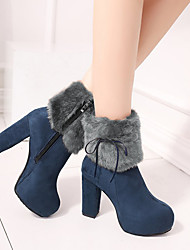 cheap -Women's Boots High Heel Round Toe Booties Ankle Boots Faux Fur PU Solid Colored Yellow Blue Black