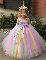 cheap -Kids Toddler Little Girls' Dress 2pcs Unicorn Rainbow Tutu Floral Party Princess Dresses With Headband Birthday Tulle Mesh Blue Purple Blushing Pink Maxi Sleeveless Sweet Dresses 3-12 Years