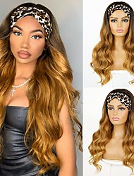cheap -Blond Headband Ladies Long Wavy Headband Wig Suitable for Women 24 inches (about 61.9 cm) Gradient Golden Wig Headband Suitable For Daily Wear Long Curly Hair Headband Wig