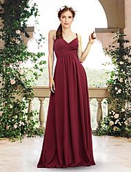 cheap -A-Line V Neck / Spaghetti Strap Floor Length Chiffon Bridesmaid Dress with Pleats
