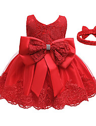 cheap -Kids Little Girls' Dress Sundress Solid Colored Strap Dress Party Wedding Lace Patchwork Purple Yellow Blushing Pink Knee-length Sleeveless Princess Dresses Summer Regular Fit 3-12 Years