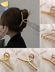 cheap -5 Pcs/set 2021 Korean New Hair Claw Barrettes For Women Fashion Girls Metal Geometric Hollow Out Headwear Hair Accessories Crab Hair Clip