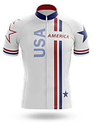 cheap -21Grams Men's Short Sleeve Cycling Jersey Summer Spandex White American / USA Bike Top Mountain Bike MTB Road Bike Cycling Quick Dry Moisture Wicking Sports Clothing Apparel / Stretchy / Athleisure