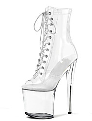 cheap -Women's Boots Stripper Boots Summer Boots Platform High Heel Round Toe Booties Ankle Boots PU Lace-up Solid Colored Clear White / Knee High Boots