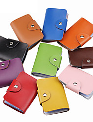 cheap -Women's leather Anti-theft candy color credit pocket card holder wallet