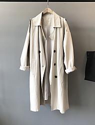 cheap -Women's Coat Causal Spring Summer Regular Coat Regular Fit Casual Jacket Solid Color Pure Color Navy Beige