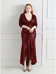 cheap -Mermaid / Trumpet Plus Size Sexy Wedding Guest Formal Evening Dress V Neck Half Sleeve Asymmetrical Sequined with Sequin Ruffles 2021
