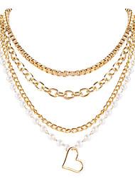 cheap -heart shape necklace jewelry retro alloy peach heart pendant, round bead chain necklace, women's fashion jewelry
