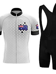 cheap -21Grams Men's Short Sleeve Cycling Jersey with Bib Shorts Summer Spandex White Australia Bike Quick Dry Moisture Wicking Sports Honeycomb Mountain Bike MTB Road Bike Cycling Clothing Apparel