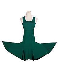 cheap -Latin Dance Dress Solid Women's Training Performance Sleeveless Natural Crystal Cotton Milk Fiber