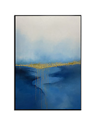 cheap -Oil Painting Handmade Hand Painted Wall Art Golden Blue Ocean Canvas Paintings Ready to Hang Home Decoration Decor