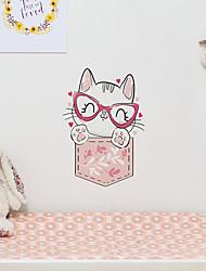 cheap -Children's Room Cartoon Self-adhesive Wall Stickers Fashion Kitten Pattern Bedroom Waterproof Cute Stickers