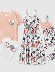 cheap -Family Sets Family Look Cotton Floral Daily Wear White Daily Matching Outfits / Winter