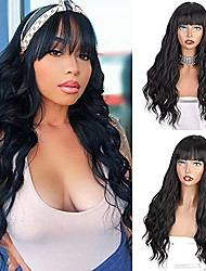 cheap -beauty long black wig with bangs black wavy wigs for women heat resistant synthetic long wavy wig for daily party use 24 inches