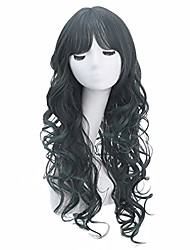 """cheap -halloweencostumes dark green wigs 27"""" long wavy cosplay wig with air bangs mix color costume wigs for women girls wig cap included (black/dark green)"""