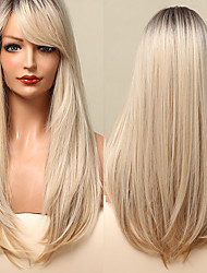 cheap -Long Natural Wavy Platinum Blonde Wigs with Bangs Cosplay Party Lolita Synthetic Wigs for Women Heat Resistant Fiber