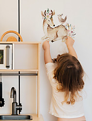 cheap -Children's Room Cartoon Self-adhesive Wall Stickers Sika Deer Pattern Bedroom Waterproof Cute Stickers