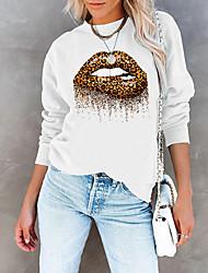 cheap -Women's Sweatshirt Pullover Leopard Lip Print Print Daily Sports Hot Stamping Cotton Sportswear Streetwear Hoodies Sweatshirts  Yellow Blushing Pink Gray