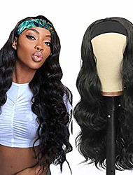 cheap -headband wig for black women glueless black synthetic body wave headband wig 180 density long wavy non lace front wig heat resistant natural looking for daily party wear(no colored headband)