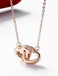 cheap -Women's Pendant Necklace Charm Necklace Heart Precious Fashion Zircon Copper Gold Plated 45 cm Necklace Jewelry 1pc For Christmas Halloween Party Evening Gift Birthday Party