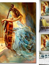 cheap -Wall Art Canvas Prints Painting Artwork Picture Girl Portrait Music Cello Home Decoration Décor Rolled Canvas No Frame Unframed Unstretched