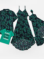 cheap -Family Sets Family Look Cotton Leaf Letter Print Black Sleeveless Daily Matching Outfits / Summer
