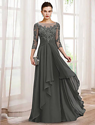 cheap -A-Line Mother of the Bride Dress Elegant V Neck Floor Length Chiffon Lace 3/4 Length Sleeve with Ruffles Appliques 2021