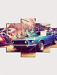 cheap -5 Panels Wall Art Canvas Prints Painting Artwork Picture Modern Vintage Car Home Decoration Décor Rolled Canvas No Frame Unframed Unstretched