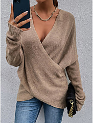 cheap -Women's Pullover Sweater Criss Cross Knitted Patchwork Solid Color Stylish Work Casual Long Sleeve Sweater Cardigans V Neck Fall Winter Spring khaki Green Black / Holiday