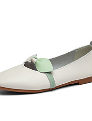 cheap -Women's Flats Flat Heel Round Toe Daily Work Leather Bowknot Solid Colored Light Brown White