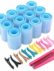 cheap -Self Grip Hair Rollers Set with Hairdressing Curlers (Large Medium Small) Folding Pocket Plastic Comb Duckbill Clips