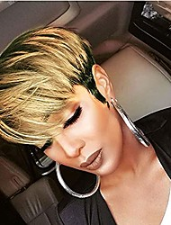 cheap -short pixie cut synthetic hair wig with bangs brown short synthetic hair wigs for black women non lace front wig full machine wigs 150% density pixie cut synthetic hair