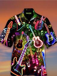 cheap -Men's Shirt 3D Print Musical Instrument 3D Print Short Sleeve Holiday Tops Beach Black