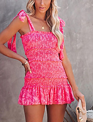 cheap -Women's Strap Dress Short Mini Dress Blue Yellow Red Sleeveless Print Ruffle Summer Square Neck Casual 2021 S M L XL