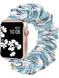 cheap -yoomas for apple watch band floral replacement scrunchies cloth soft pattern printed fabric wristband bracelet women elastic scrunchy bands for watch se series 6/5/4/3/2/1 - 38mm/40mm windflower/white