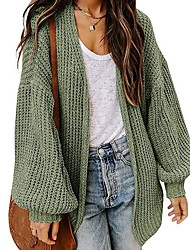 cheap -Women's Cardigan Sweater Solid Color Basic Casual Long Sleeve Sweater Cardigans V Neck Denim Blue caramel colour Blue / Holiday
