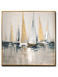 cheap -Oil Painting Handmade Hand Painted Wall Art Square Landscape Sail Abstract Wall Art Canvas Home Decoration Decor Stretched Frame Ready to Hang