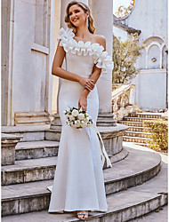 cheap -Mermaid / Trumpet Wedding Dresses Spaghetti Strap Off Shoulder Sweep / Brush Train Stretch Fabric Cap Sleeve Romantic Elegant with Ruffles 2021