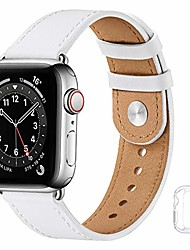 cheap -soft leather watch bands compatible with apple watch band 38mm 40mm 42mm 44mm, special watch band replacement strap for women men for iwatch se series 6 5 4 3 2 1 (white with silver, 42mm/44mm)