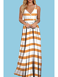 cheap -Women's Strap Dress Maxi long Dress Blue Purple Orange Light gray Sleeveless Striped Summer V Neck Boho 2021 S M L XL XXL