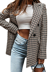 cheap -Women's Blazer Daily Spring &  Fall Regular Coat Regular Fit Fashion Casual Jacket Long Sleeve Plaid Check Quilted Gray Work