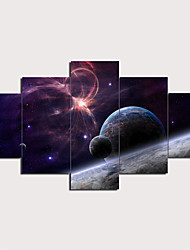 cheap -5 Panels Wall Art Canvas Poster Painting Artwork Picture Universe Space Planet Fantasy Home Decoration Décor Rolled Canvas No Frame Unframed Unstretched
